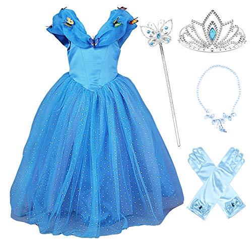 JerrisApparel Nuevo Vestido de niña Ceremonia Princesa Disfraz con Mariposa (110cm, Azul con Accesorios)