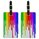Graphics & More Dripping Rainbow-Art Artist Painting Luggage Tags Suitcase Id, White