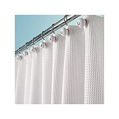 mDesign Long Hotel Quality Polyester/Cotton Blend Fabric Shower Curtain, Rustproof Metal Grommets - Waffle Weave for Bathroom Showers and Bathtubs - 72  x 84 , White