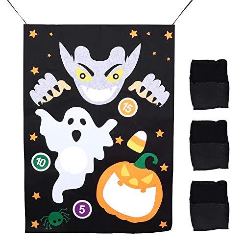 Ymiko Sandsackspielzeug, verschleißfestes Sandsackspielzeug aus Filz, Party Favor Supplie Fun Halloween-Spielset enthält 3 Sandsäcke, Halloween-Themen-Halloween-Zubehör für Kinder(EIN)