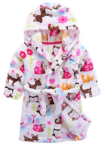 Kinder Bademantel mit Kapuze Nachthemd, Jungen Mädchen Niedlich Pyjamas Flanell Nachtwäsche Robe Karikatur Schlafanzüge Hausmantel (Eule, 140 / Geeignet für Höhe 130 cm)