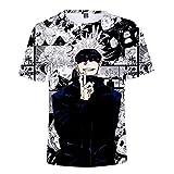 EDMKO Jujutsu Kaisen Camisetas De Verano Impresas En 3D Gojo Satoru Unisex T-Shirt Manga Corta De Cuello Redondo Ocasionales Casual Hipster Tops para Hombres Mujeres,Large