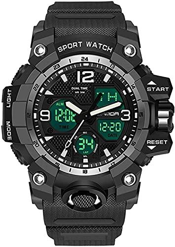 QHG MERTENOS Reloj Hombres Reloj Deportivo a Prueba de Agua para Relojes para Hombre Dual Pantalla Digital Reloj de Pulsera de Cuarzo (Color : Blacksilver)