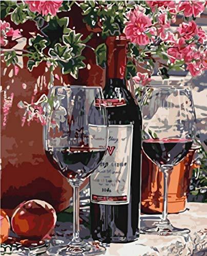 YMLINXI Malen Nach Zahlen Für Erwachsene Weinglas DIY Handgemalt Ölgemälde Kits Auf Leinwand Geschenk Für Home Haus Deko (Ohne Rahmen) 40X50 cm