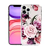 Sephonie Flower Case for iPhone 12/12 Pro (6.1'), Floral Pattern Clear Slim Ultra-Thin Girly Design, Shockproof Protective Hard PC Back with Soft TPU Bumper Phone Cover for Girls and Women | Peony