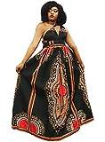 Shenbolen Women African Print Maxi Dress Dashiki Long Dress(A,Small-Large)