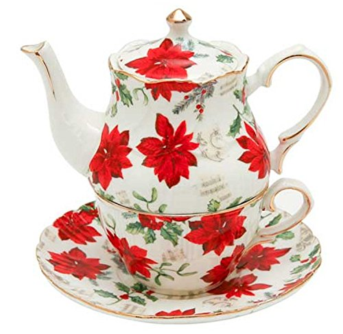 Christmas Tea for One - Poinsettia & Sheet Music Design