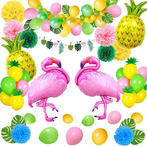 SPECOOL Hawaiian Tropical Dekoration, 52PC Beach Party Supplies mit bunten Ananas Flamingo Ballons Palm Simulation verlässt Banner Papier Pom Poms für Luau Party Dschungel Sommer Tischdekorationen