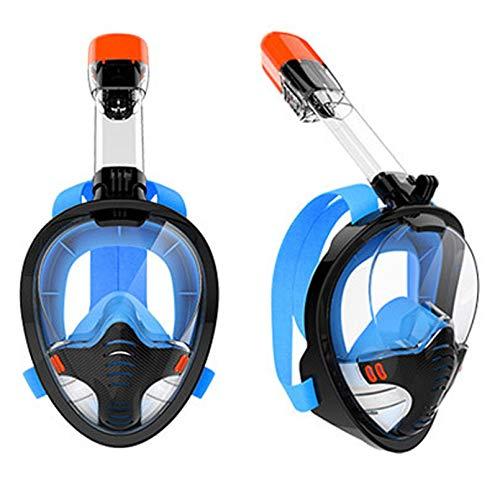 JUYHTY Conjunto De Snorkel con Parte Superior Seca De Cara Completa Versión Mejorada Plegable Más Seguro Vista Panorámica De 180 ° Máscaras De Buceo Antivaho Bolsa De Equipo Antifugas,Azul,XL