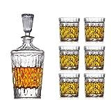 Decantadores de whisky Decanter de 7 piezas Set Large vino Decanter Set Bar Carafe y 6 gafas de whisky de vino con tope Cristal Conjunto de vinos Sello de decoración Sello de decoración Bodega vaso co