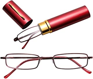 Jtj Reading Glasses Metal Spring Foot Portable Presbyopic Glasses with Tube Case +3.50D(Black) (Color : Red)