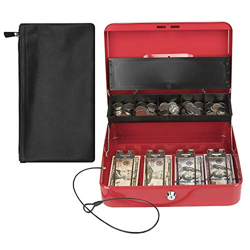 KYODOLED Locking Cash Box with Key Lock,Money Box Bound with WaterProof Coin Bag,Security Metal Money Lock Box with Cash Tray,Safe Box for Money,11.81'x 9.45'x 3.54' Bundle Water-Resistant Money Bag