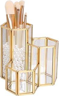 Jewelry Rack الذهب الزجاج ماكياج فرشاة المنظم حامل عرض عرض لسطح المكتب مربع تخزين أحمر الشفاه الشفافة Jewelry Stand