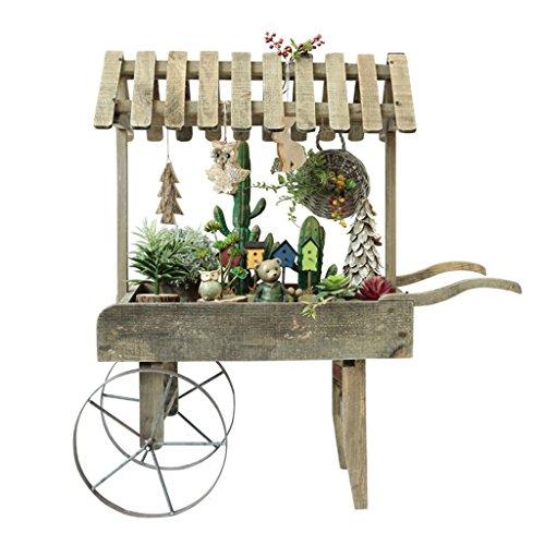 Flower stand- Marco de decoración de Carro Retro de Madera de país Americano pequeño Soporte de Flor Creativo Tienda de Accesorios de decoración