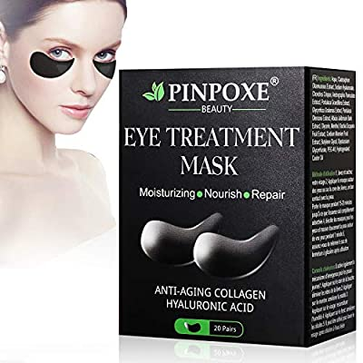 Collagen Eye Mask, Anti Aging Eye Patch, Collagen Eye pads, Under Eye Mask, Eye Treatment Mask, for Puffy Eyes & Bags, Dark Circles and Wrinkles,with Collagen, Hyaluronic Acid, Hydrogel from Pinpoxe