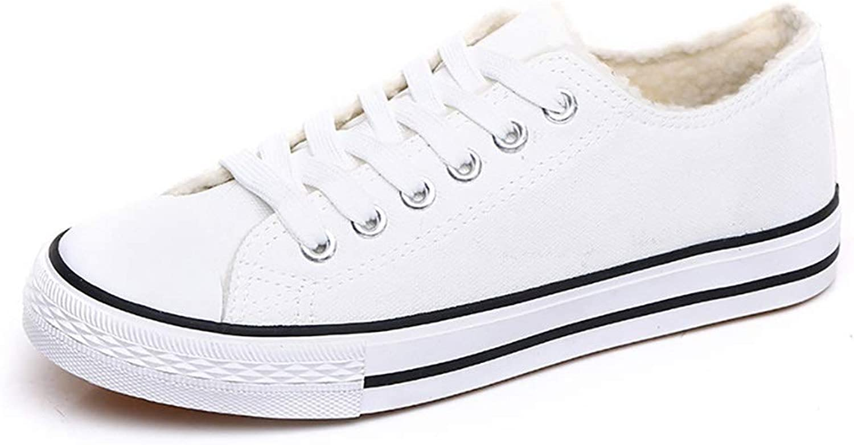 Autumn and Winter Plus Velvet Canvas shoes Women's shoes Korean Version Wearing Fur shoes White shoes (color   B, Size   39)