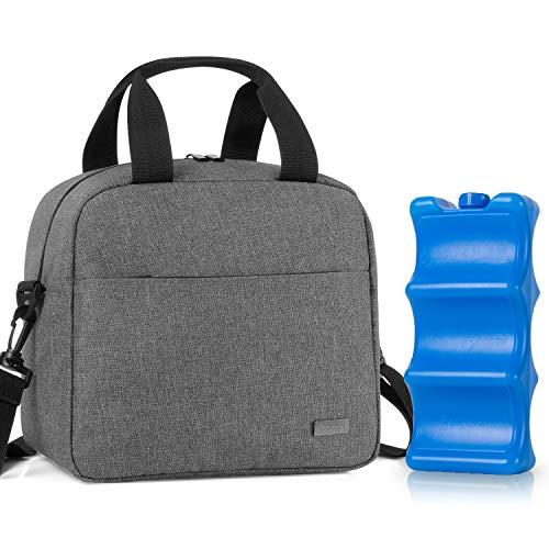 Teamoy Kühltasche für 6 Milchflasche (bis zu 270 ml), Isolierte Flaschenhalter mit Kühlelement für Babyflaschen, Muttermilch Kühlbox für Unterwegs, Transport, Arbeit, Reise, Grau