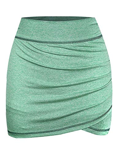 MOQIVGI Golf Skorts Women Tummy Control Dressy Casual Ruched High Wasit Fitness Tennis Exercising Sports Skirts with Inner Shorts Ladies Activewear Green Large