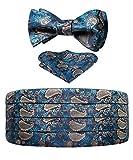 HISDERN Completo da uomo floreale in seta con motivo cachemire e papillon da auto e fazzoletto da taschino blu navy, verde acqua e oro
