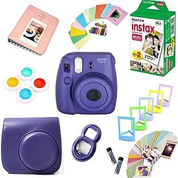 Fujifilm Instax Mini 8 Film Camera + Instax Mini Film  20 Shots  + Protective Camera Case + Selfie Lens + Filters + Frames Decorative Design Kit …  Grape