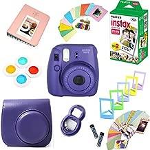 Fujifilm Instax Mini 8 Film Camera + Instax Mini Film (20 Shots) + Protective Camera Case + Selfie Lens + Filters + Frames Decorative Design Kit … (Grape)