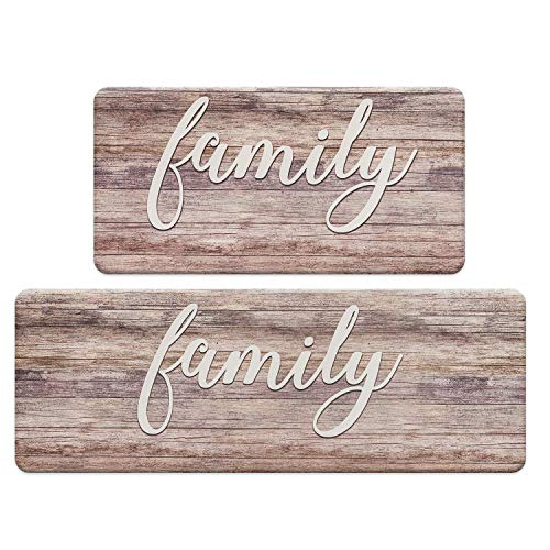 """ROSMARUS Farmhouse Family Kitchen Rug Set 17""""x47""""+17""""x30"""", Anti-Fatigue Cushioned Kitchen Sink Floor Mat Waterproof Easy to Clean Comfort Standing Kitchen Mat (Gray)"""
