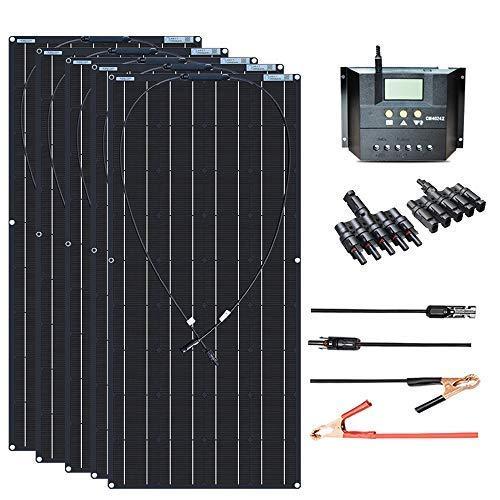 XINPUGUANG - Kit de panel solar de 500 W, 5 unidades, 100 W, 18 V, módulo fotovoltaico monocristalino solar flexible, 50 A, 12 V / 24 V, regulador solar para barco,12 V, cargador de energía de batería