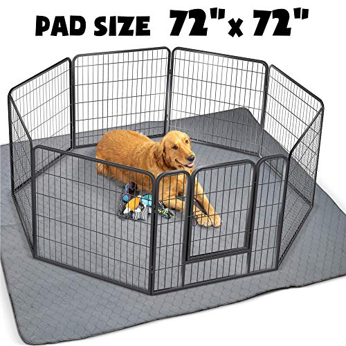 "ZICOTO Waterproof XXL Puppy Whelping Pad 72""x72"" - Our Washable Super Absorption Pee Pad is Perfect for Your Exercise Playpen Or Whelping Box - The Durable Non Slip Floor Mat for Dogs Pads Training Trays"