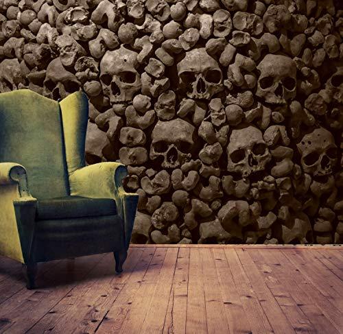 Vlies Tapete XXL Poster Fototapete Totenkopf Steinmauer Farbe sepia, Größe 140 x 100 cm selbstklebend