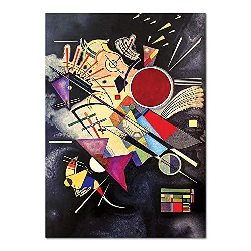 Giallobus - Quadro - Vassily Kandinsky - Accompagnamento Nero - Vetro Acrilico Plexi - 100x140 - Pronto da Appendere - Quadri Moderni per la casa