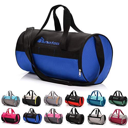 Sac de Sport 25L Femme Homme Enfant Fille Bag Sac Voyage Bagage Duffel Fitness Gym Vacances bandoulière Fitness Travail avec Compartiment à Chaussures Séparé (25 L, Bleu/Noir)
