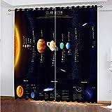 WLHRJ Cortina Opaca en Cocina el Salon dormitorios habitación Infantil 3D Impresión Digital Ojales Cortinas termica - 264x210 cm - Planeta Sistema Solar