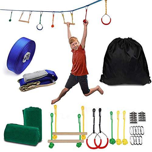 Ninja Slackline Monkey Bar Kit mit 12 m Langer Trainingsleine, Baum-Hängehindernissen im Freien, Zubehör-Spielset, Premium Slackline Anfänger-Kit Perfekt für Kinder, Erwachsene