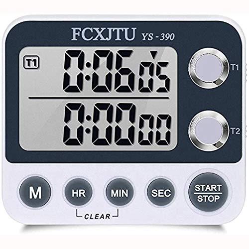Temporizador Digital de Cocina Dual Volumen de Ajustable Cronómetro de Cuenta Atrás para Yoga Reunión Clase (Color : Black)