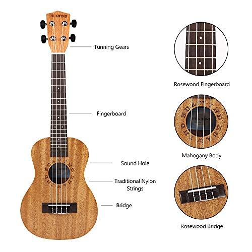HUAWIND Concert Ukulele Ukeleles for Beginners Mahogany 23 Inch Hawaiian Starter ukeleles for Kids Adults Child Guitar Ukalalee With Gig Bag (Letter Pattern)