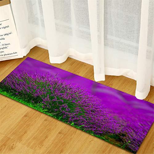 JLCP 3D-Küchenteppich Runner, Lila Lavendel Bad Fußmatten Anti-Rutsch Nach Hause Bodenmatte Weich Waschbar Teppich Für Flur/Sofa/Eingang/Wohnzimmer,9,40x120cm