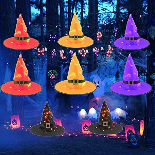 OYEFLY Halloween Dekorationen,Hängende Beleuchtete Glühende Hexen-Hüte-Dekorationen Halloween mit LED-Lichterketten für Außenbereich, Hof, Baum (8Pcs)