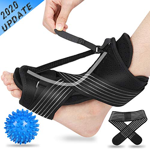 2020 Updated Version Plantar Fasciitis Night Splint, Efferey Night Splint for Plantar Fasciitis, Adjustable Plantar Fasciitis Splint Night with Massage Ball and Bandage
