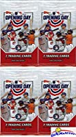 2020 Topps Opening Day MLB Baseball Collection of FOUR(4) Factory Sealed HOBBY Packs with 28 Cards! EVERY Pack Includes 1 Insert! Look for Autos of Mike Trout, Yordan Alvarez, Acuna & More! WOWZZER!