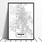 Leinwandbilder Bild,Brisbane Australien Stadt Karte Drucken