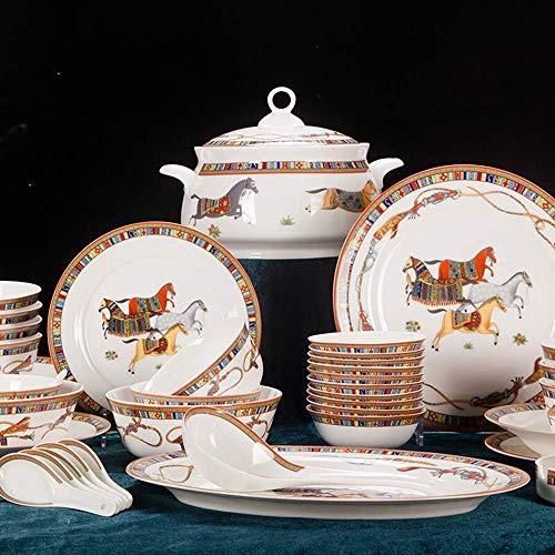 GAXQFEI Juegos de vajilla de 56 piezas de porcelana, juegos de platos de porcelana, cuencos/platos de postre/platos de cena/ollas/platillos, servicio de primera para 10, adornos nórdicos para
