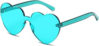 Heart Shaped Rimless Sunglasses Candy Steampunk Lens for women girl