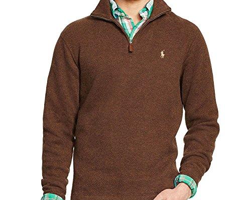 Ralph Lauren Polo Herren-Pullover mit halbem Reißverschluss, Muskatbraun, Größe M