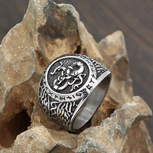 YABEME Viking Dragon Ring, Norse Vintage Stainless Steel Carved Rune Celtic Pagan Amulet Scandinavian Finger Jewelry with Valknut Gift Bag,13