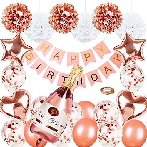 AUMERIT 33 globos de confeti, globos de látex, globos de fiesta, guirnalda de globos para decoración de champán de oro rosa