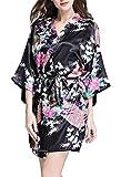 FEOYA Morgenmantel Nachthemd Dammen Satin Kurz Kimono Kostüm Schwarz Bademantel Sommer V Ausschnitt Nachtwäsche Negligee Frauen Blumen Nachtkleid Sleepwear M