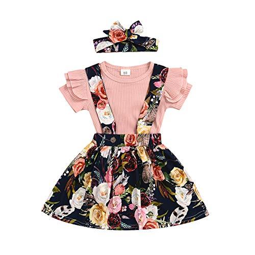 Infant Baby Mädchen Kleidung Set Kurzarm Rundhals Rose Print Strampler Rüschen Plissee Strap Rock Outfit Set 2 Stücke für 0-4 Jahre (4-5Jahre, A-Rosa)