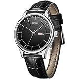 BUREI Herren Uhren Quarz Armbanduhren Einfach Schwarzes-dial Datum Kalender mit Schwarz Lederband
