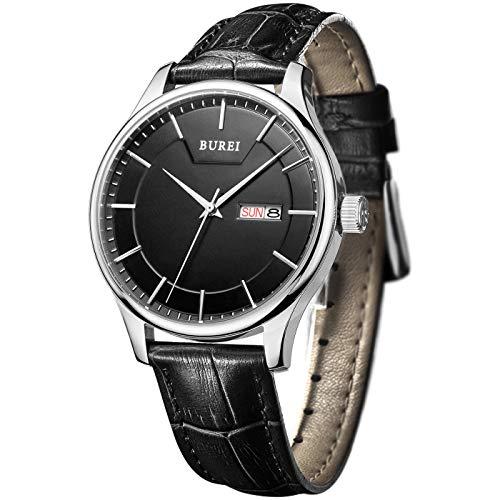 BUREI Armbanduhr Herren Analog Quarz Uhr wasserdichte Herrenuhr Lederarmband Schwarze Uhren Herren Elegant mit Datum