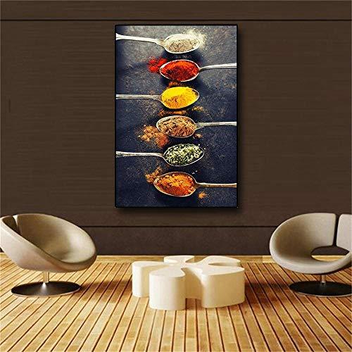 CNHNWJ korrels, kruiden, paprika, lepel, Scandinavisch canvas, schilderijen, cuadros, poster & drukken, keuken, muurkunst, levensmiddelen, afbeelding, woonkamer (60 x 80 cm x 1 / geen lijst)